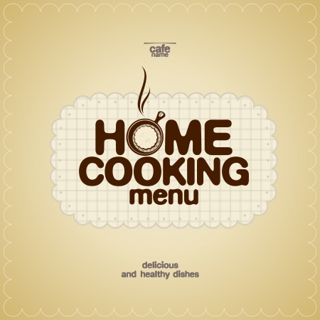 a tablecloth: Home Cooking Menu Design template. Illustration
