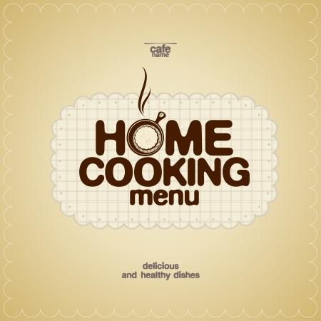kitchen poster: Home Cooking Menu Design template. Illustration