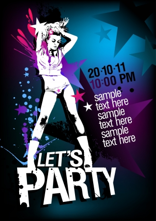 Let`s Party design template with fashion girl and place for text. Vector