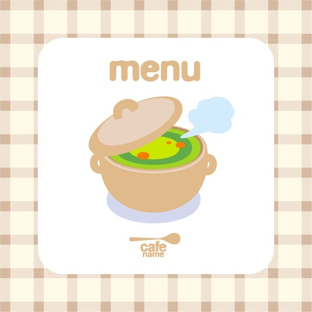 soup pot: Cafe Menu Card Design template.