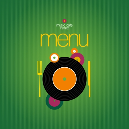Music Cafe Menu Card Design template.  Vector