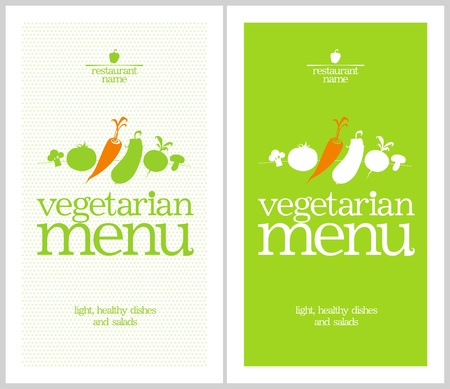 vegetarian: Restaurant Vegetarian Menu Cards Design template.
