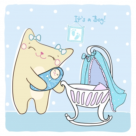Baby boy shower card with cute kitty  Vector