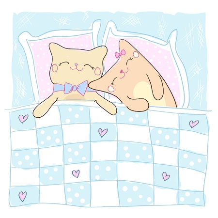 couple in bed: Greeting card for beloved with cute sleeping cats  Illustration