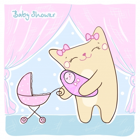 Baby shower card with cute kitty  Vector