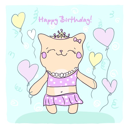 Birtday card for girl with cute smiling kitty and balloons  Vector