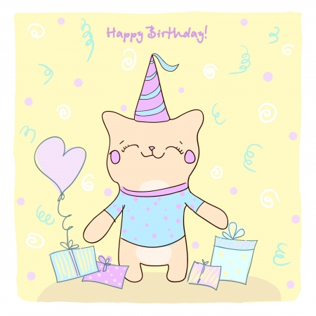 Birtday card for boy with cute smiling kitty and gifts  Vector