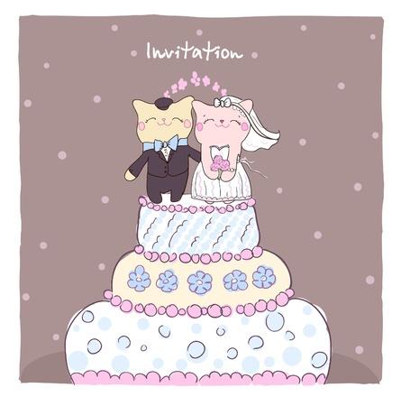 Boda tarjeta de invitaci�n con la torta de cumplea�os lindos gatos