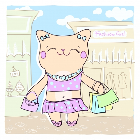 Card with cute smiling fashion kitty  Vector
