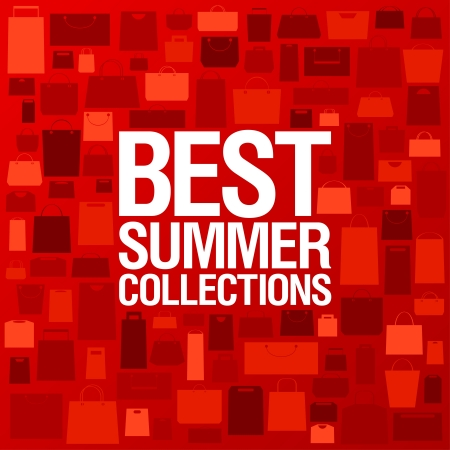 red retail: Best summer collections design template with shopping bags pattern