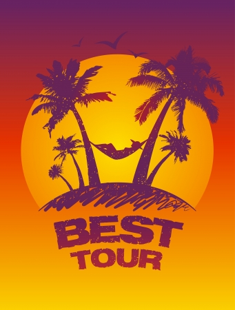 Best tour design template with tropical view  Vector