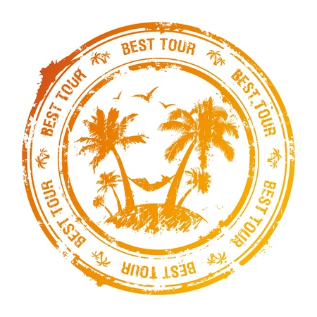 hot tour: Best tour rubber stamp with tropical view  Illustration