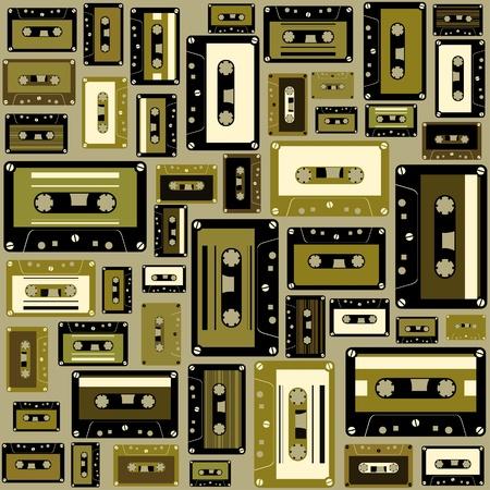 audio cassette: Cassette tape seamless pattern