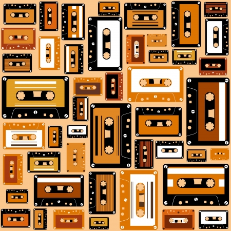 Cassette tape seamless pattern  Vector