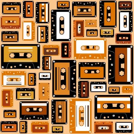 cassette tape: Cassette tape seamless pattern