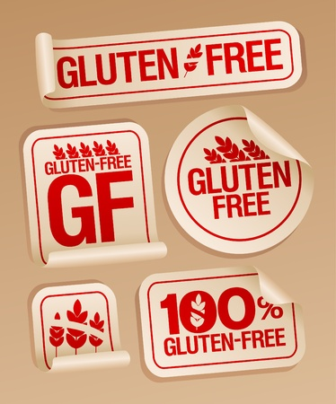 Gluten free food stickers set  Vector