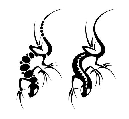 Lizard tribal tattoo art set Stock Vector - 14035100