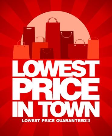 Laagste prijs in de stad, verkoop design met boodschappentassen