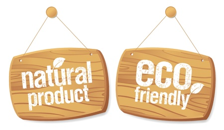 non: Eco friendly and Natural product wooden boards  Illustration