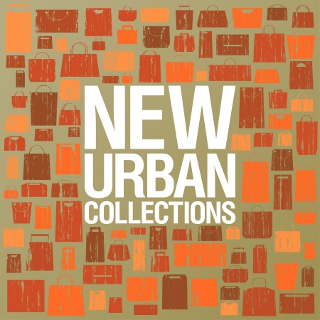 New urban collections design template with shopping bags pattern