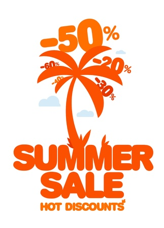 Summer sale design template  Fresh discounts  Vector