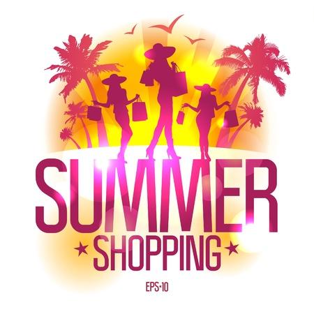 Letní nakupování design šablona s módní dívčí silueta proti tropickým pohledu