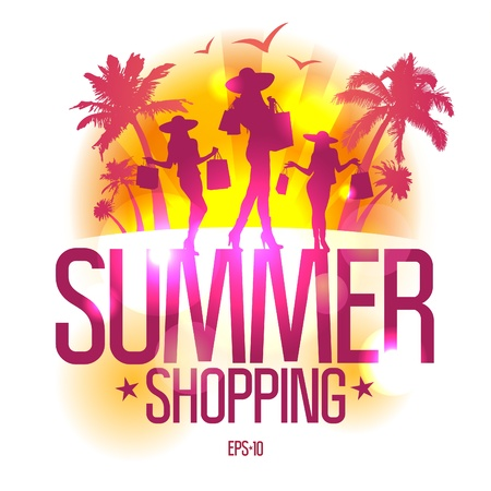 Summer shopping design template with fashion girls silhouette against tropical view  Vector