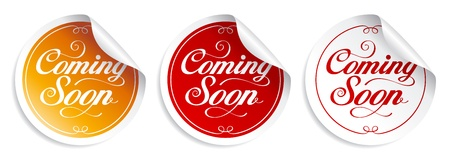 Coming soon stickers set. Vector