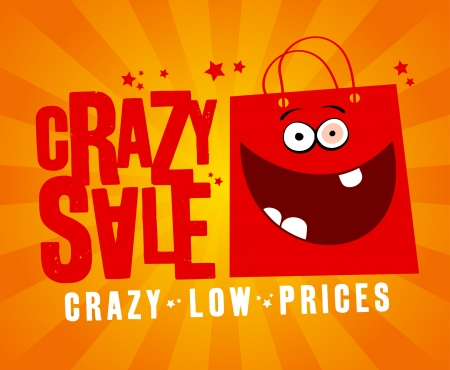 Crazy sale design template, with fun red bag. Vector