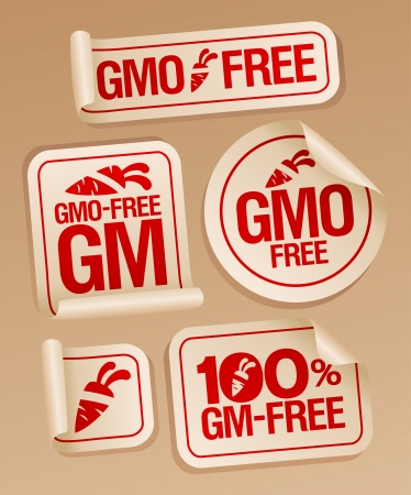 gm: GMO free stickers set for healthy food. Illustration