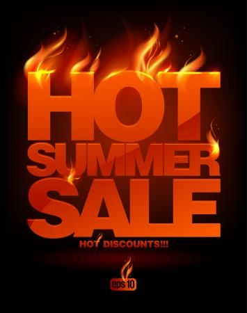 caliente: Fiery venta caliente del verano diseño de la plantilla. Eps10 Vector. Vectores