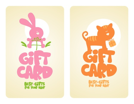 Gift cards for baby with cute animals. Vector