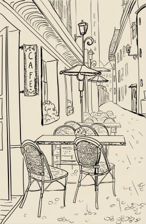 paris vintage: Street Cafe en la ilustraci�n de edad esbozo de la ciudad.