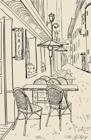 Street cafe in old town sketch illustration. Vector