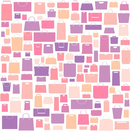 Sale background with shopping bags pattern. Vector