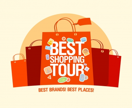 Best shopping tour design template with paper bags. Vector