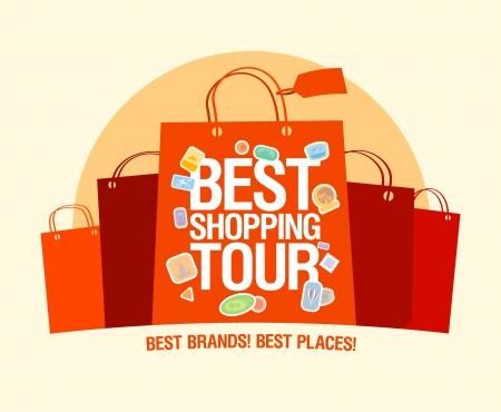 faire les courses: Meilleur mod�le de conception shopping tour avec des sacs en papier.