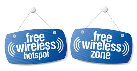 wi fi icon: Free wireless zone internet signal signs to the store and bar.