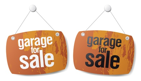 satılık: Garage for sale vector signs  Çizim