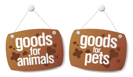 outdoor goods: doods for pets signs set Illustration