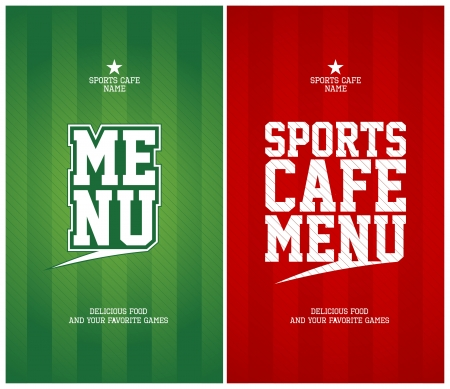 paper fan: Sports Cafe Menu cards design template