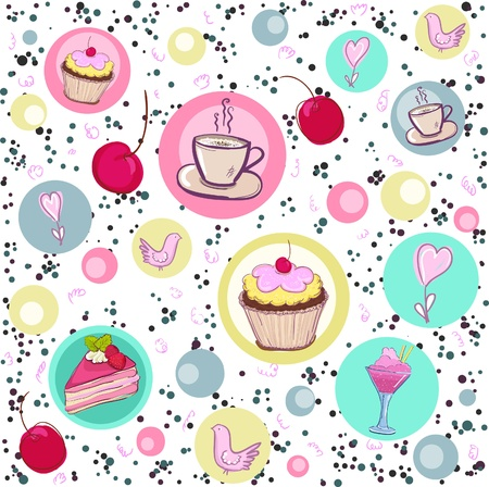 tea party: Holiday seamless pattern with sweets and coffee  Illustration