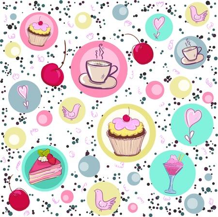 tarte aux cerises: Motif de vacances sans faille avec des bonbons et du caf� Illustration