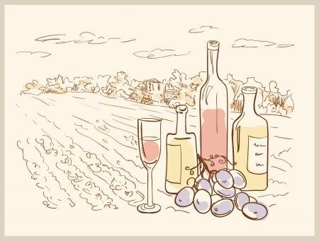 Main dessinée vignoble avec des bouteilles de vin Vecteurs