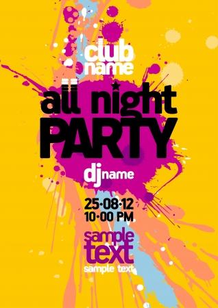 flyer musique: Tout mod�le de conception Party Night avec place pour le texte Illustration