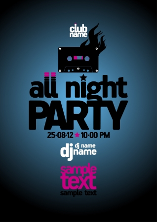 flyer background: All Night Party ontwerp sjabloon met plaats voor tekst