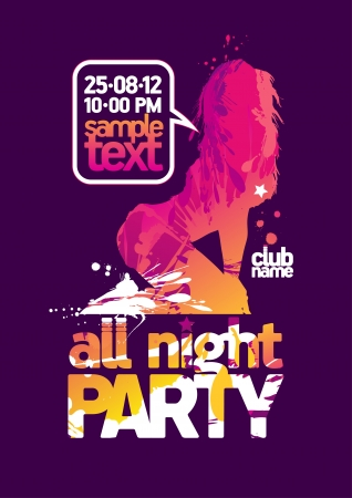 modern rock: All Night Party design template with fashion girl and place for text  Illustration