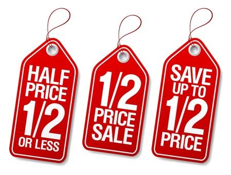 etiquetas de ropa: Ahorrar la mitad de precio, etiquetas de promoción de venta establecidos Vectores