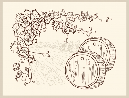 wooden barrel: Hand drawn vineyard
