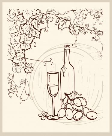 vine and leaves of vine: Hand drawn vineyard with a bottle of wine  Illustration